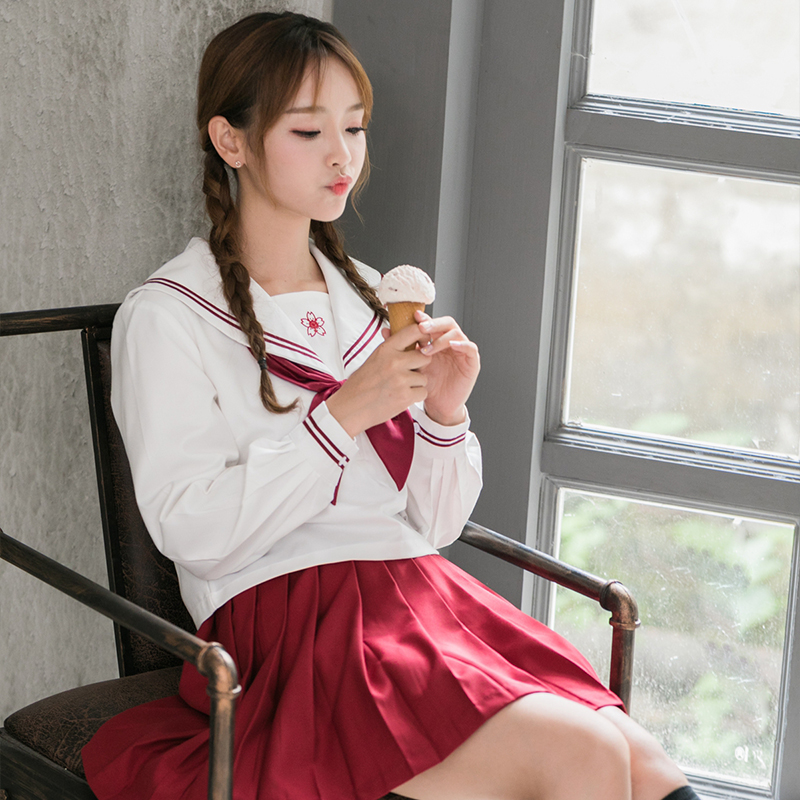 UPHYD Sakura Embroideried Japanese JK Sets School Uniform Girls Long Sleeve High School Women Novelty Sailor Suits Uniform