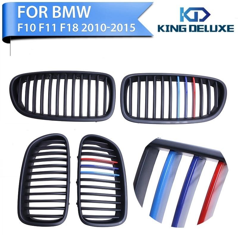ФОТО 2pcs Matte Black + M-color Front Grilles Lattice Grill For BMW F10 Sedan / F11 Touring 2011 2012 2013 2014 2015 2016 #P220