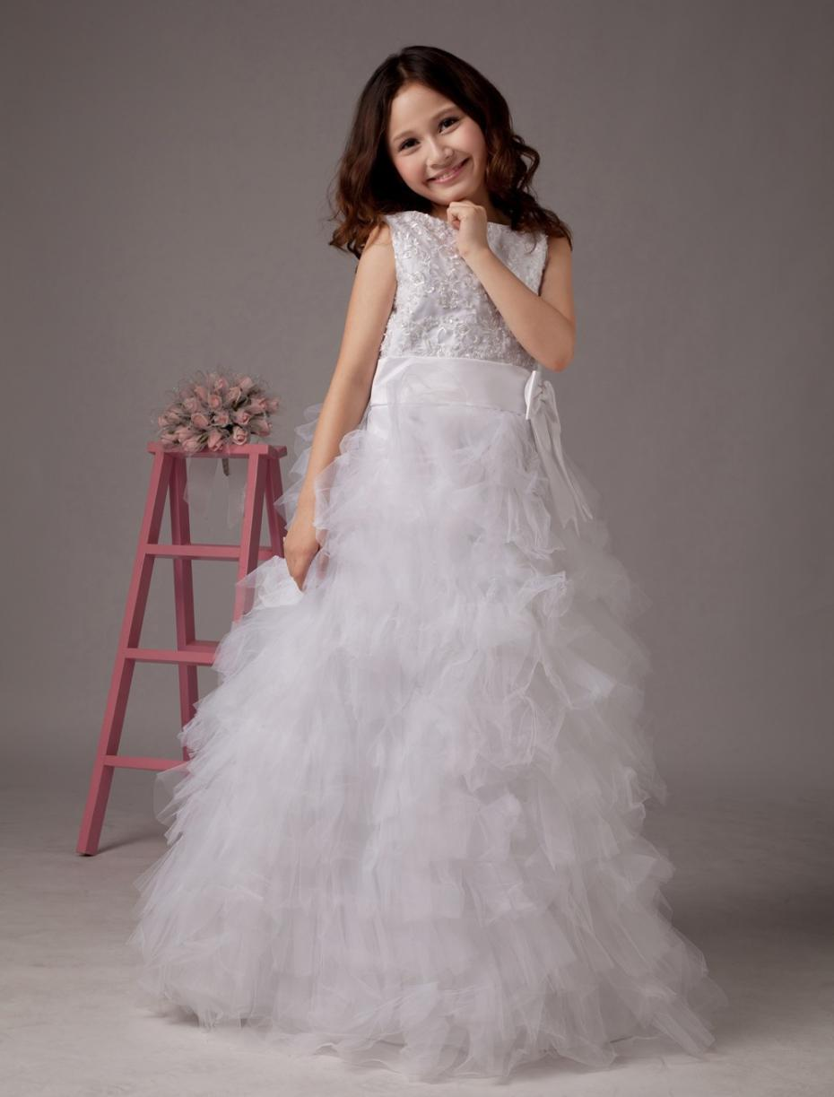 Scoop Appliques Beaded Designer Flower Girl Gowns Long White Ball ...