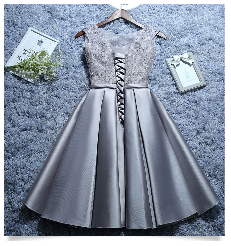 Image 5 - Satin Lace Wine Red Short White Evening Dresses 2019 New Homecoming Graduation Dresses Robe Gray Party Formal Dress C1929-in Evening Dresses from Weddings & Events