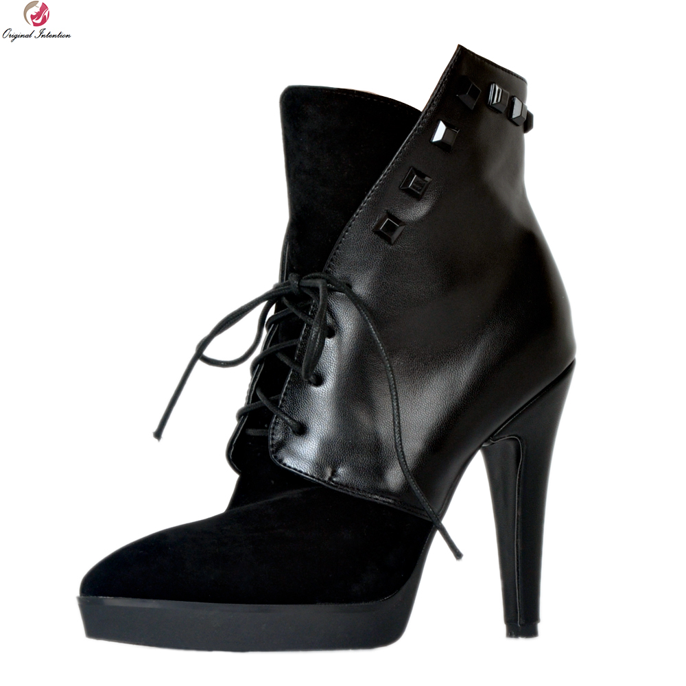 Original Intention Fashion Women Ankle Boots Stylish Pointed Toe Thin Heels Boots Popular Black Shoes Woman Plus US Size 4-15 original intention high quality women knee high boots nice pointed toe thin heels boots popular black shoes woman us size 4 10 5
