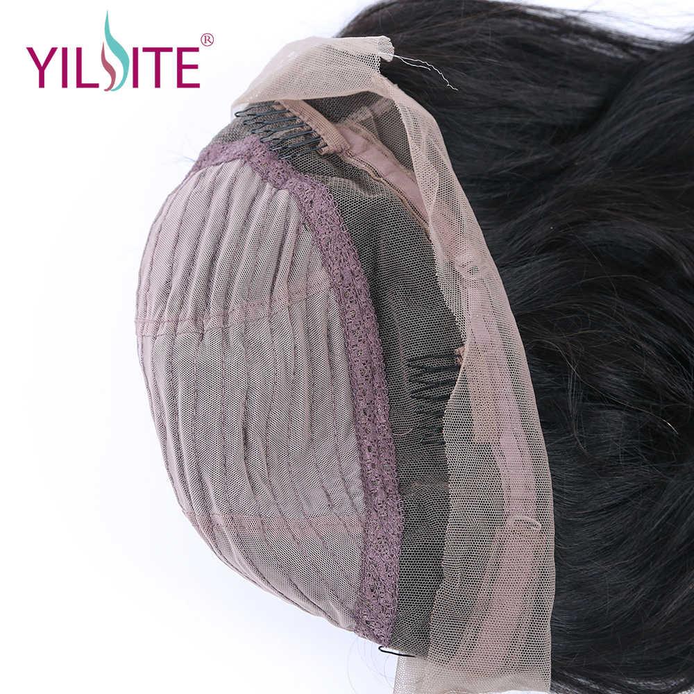 YILITE 360 Dantel Frontal Peruk 180% Yoğunluk İnsan Saç Peruk Kadınlar Için Doğal Düz Hint Remy Saç Doğal Siyah Renk