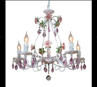 Newly Decorative Modern White European Chandelier Lamp Lustre Light 3L 5L 8L Pink Rose Flower Light