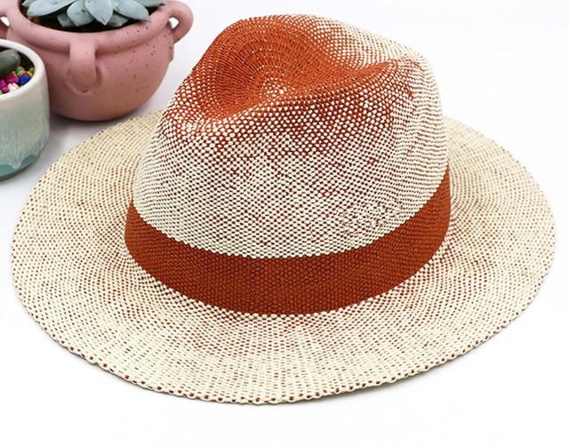 6 piezas hombres verano verde paja Sombreros de Panamá 2018 mujeres naranja  sombrero Fedora paja papel 11175e1696f