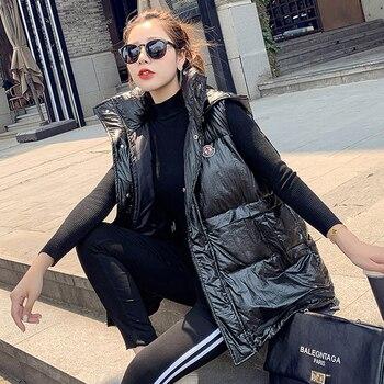 цена на New 2020 Fashion Cotton-down Vest Women Sleeveless Coats Female Hooded Casual Warm Windproof Jacket Waistcoat Polyester Cotton