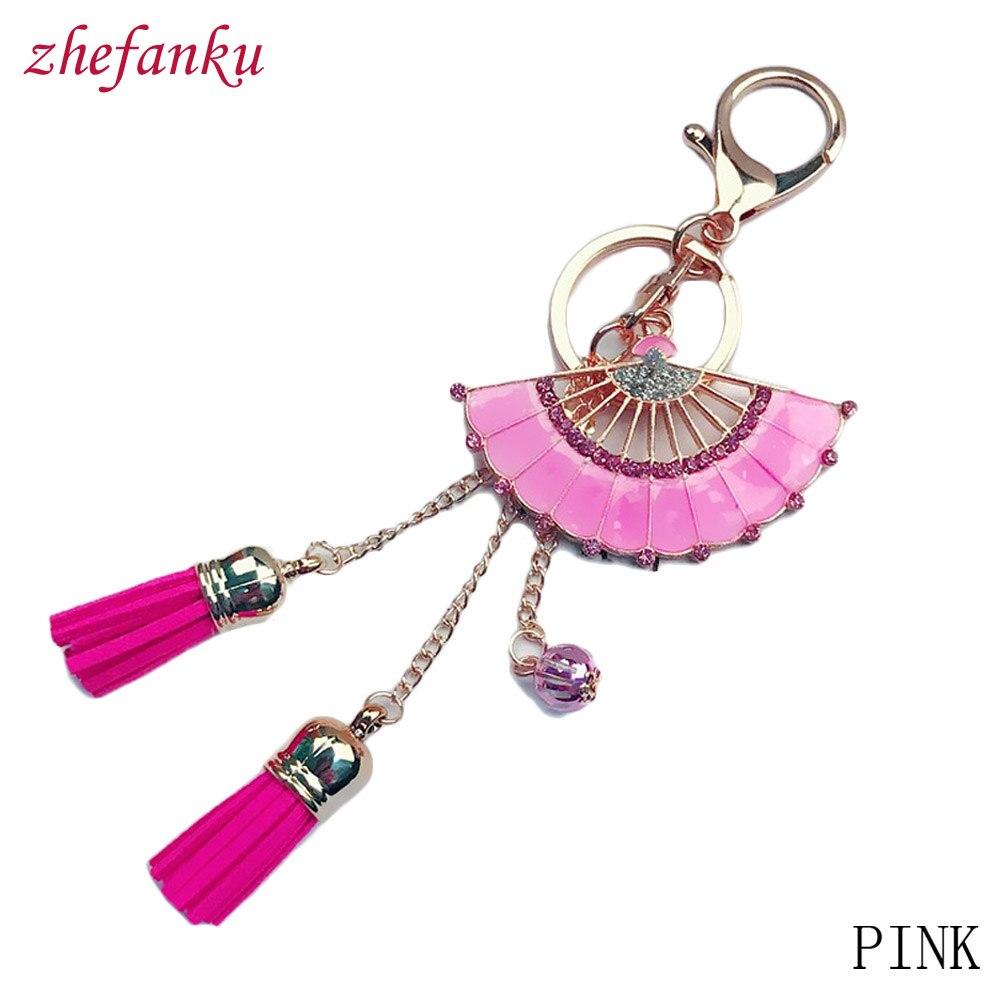 Gold Color Hand Fan Keychain Leather Tassel Alloy Key Holder Bag Pendant Jewelry Creative Gift Crystal Fan Key Ring
