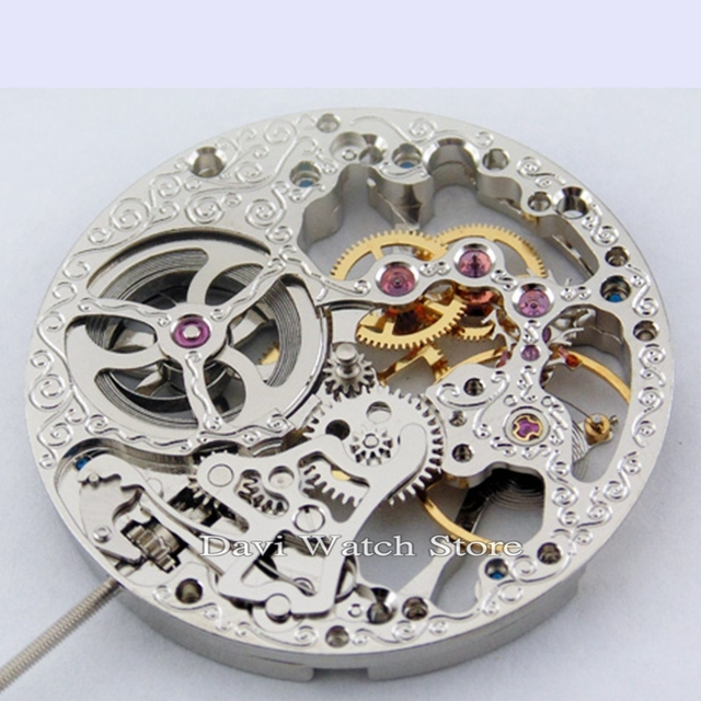 17 Jewels Silvery Full Skeleton Hand Winding 6497 movement fit Parnis mens watch