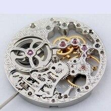 Parnis 6497, 17 bijoux, squelette complet argenté, remontage à la main montre pour hommes mouvements