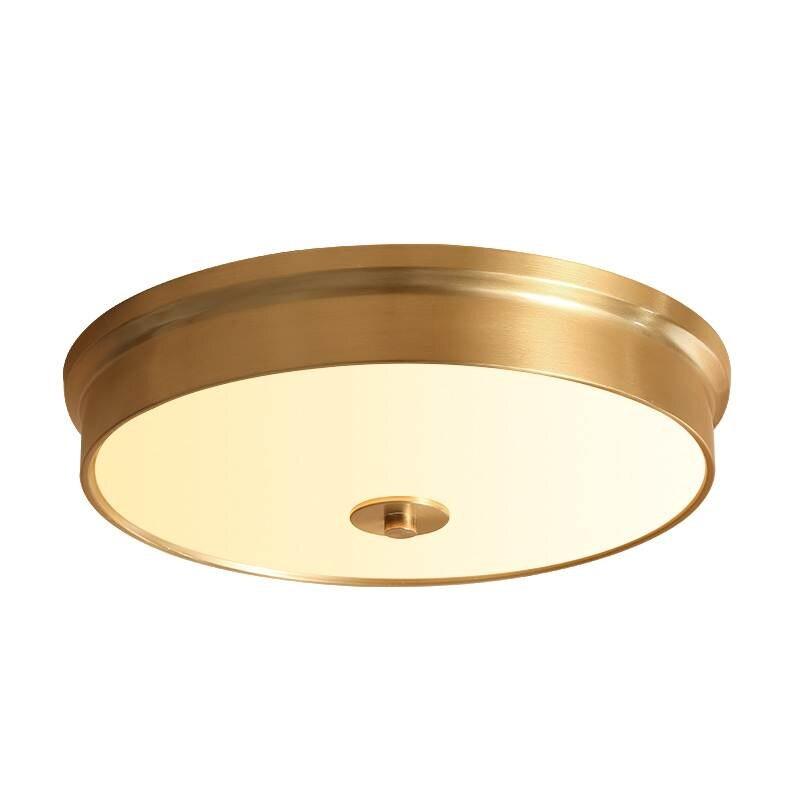 Amérique style rond plein cuivre plafonniers or de luxe hall chambre salle À Manger plafond lampes LED plafonnier avec lampe