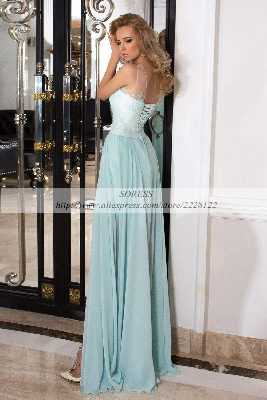 2pc Light Blue High Split Tight Prom Dresses Lace Appliques Chiffon ...