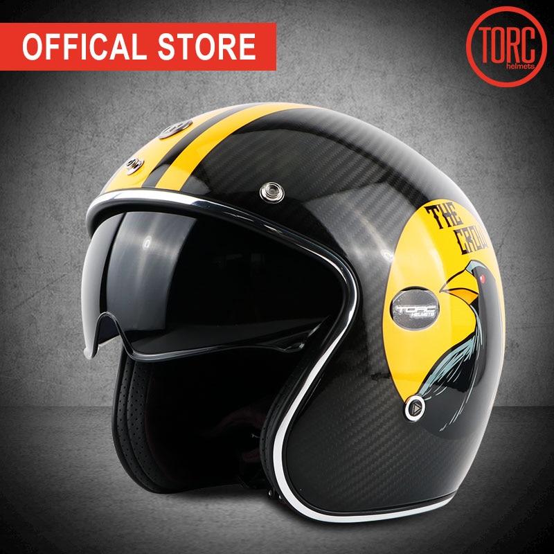 TORC koolstofvezel motorhelm vintage open helm vespa motorbike - Motoraccessoires en onderdelen - Foto 1