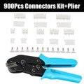 900 piezas JST-XH conectores de 2,54mm Kit de surtido de crimpado herramienta Mano férula Crimper alicates Kit de herramienta de crimpado