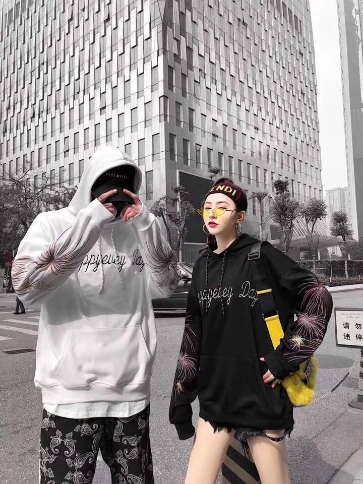 Embroidery Hoodie Loose Style white Street Fireworks Lovers Black Drop Hoodies Shipping Japanese hop Hip UwqnSzIa