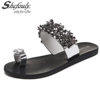 Shefouly Cute Sweet Girls Summer Slipper Flip Flops With Crystal Flower Decoration Black Silver PU Leather