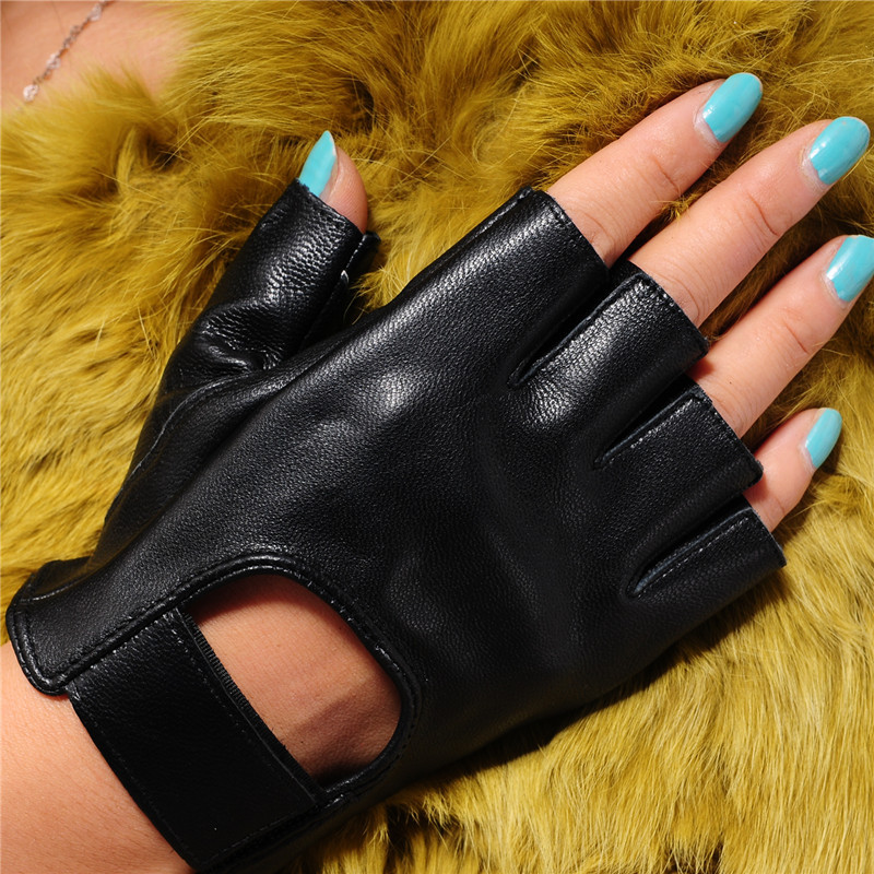 2020 New Summer Women Semi-Finger Gloves Genuine Leather Claasic Black Half Finger Driving Gloves  Free Shipping JT9002