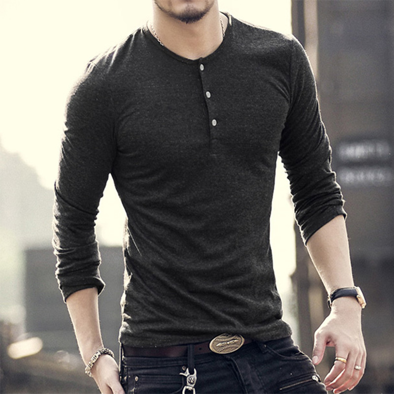 New Fashion Men Tee Long Sleeve Henley   Shirts   Military Casual   T  -  shirt   Top men Clothes lycra cotton   t     Shirt