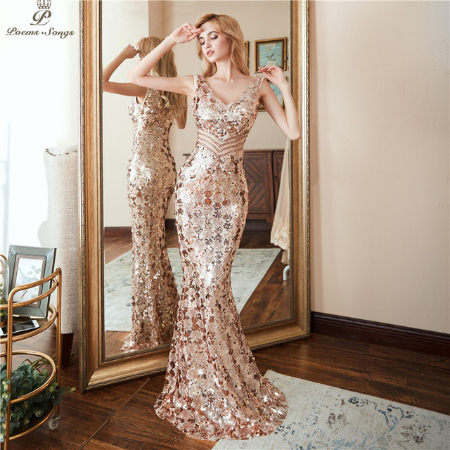 Poems Songs new style Double V-neck Evening Dress vestido de festa  Formal party dress  Luxury Gold Long Sequin prom gowns