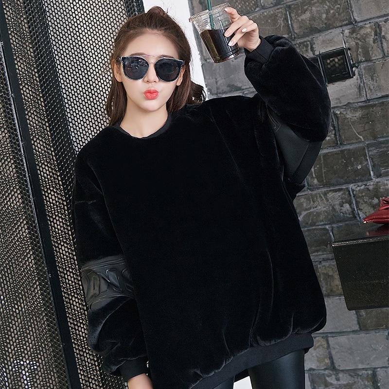 De Solide Plus Chaud Fourrure Noir Black Tranches Manteau Épaissir Veste Hiver Dame Survêtement Faux Polaire Femmes Couleur Dames Taille En La 7qUftwx8W