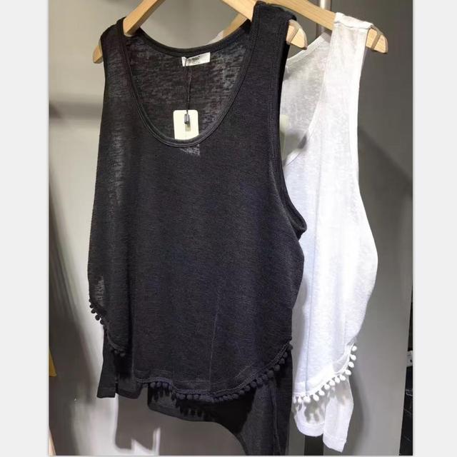 9985ba2ed4e83 2017 Summer Tank Tops With Tassel Hem Women Cotton Black Ladies Casual  Solid Boat Neck Camisole White Female Sleeveless T-Shirt