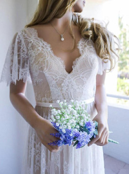 Beach Vestido De Noiva 2019 Muslim Wedding Dresses A-line V-neck Cap Sleeves Tulle Lace Backless Boho Wedding Gown Bridal Dress