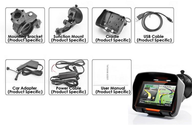Hot sale 4.3 Inch 8GB 128256 RAM IPX7 Waterproof Moto Bluetooth GPS Navigator for Motorcycle Motorbike Car+Bracket Free Maps (12)