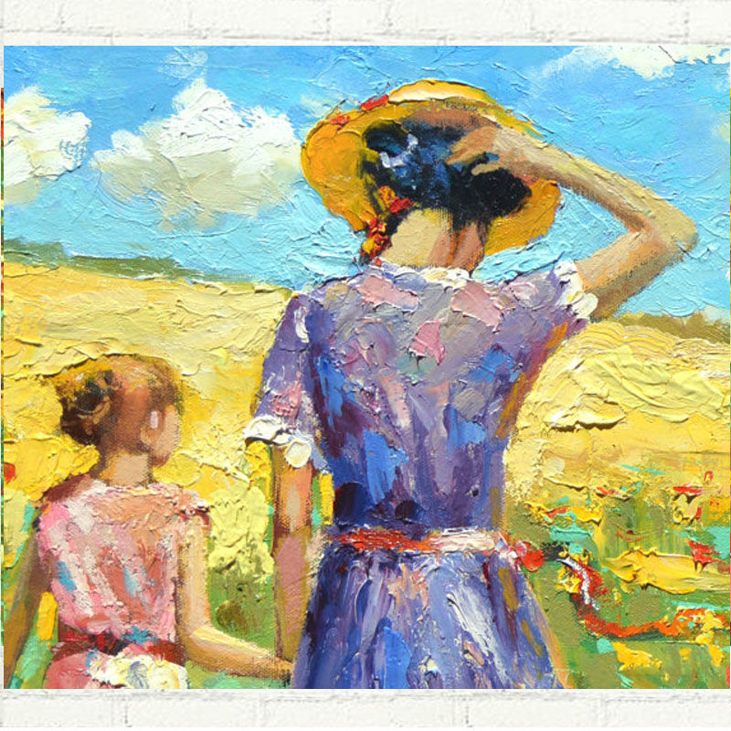 Modern Art Oil Painting On Canvas Mother With Child On the Way Home Picture For Home Decoration Art Flower Painting Hand PaintedModern Art Oil Painting On Canvas Mother With Child On the Way Home Picture For Home Decoration Art Flower Painting Hand Painted