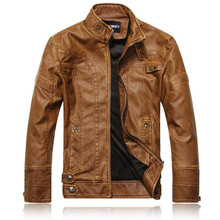 New Autumn Winter Motorcycle Biker Leather Jackets Men Casual Slim Stand Collar