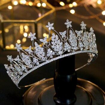 Gaya rambut panas braider mahkota, Aaa CZ tiara, Mahkota pernikahan, Aksesoris rambut, Aksesoris pengantin, Perhiasan kepala