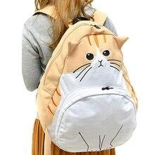 Japanese Cat Brown Backpacks for Teenage Girls Canvas Mochila Gato Big Kawaii Backpack Cartoon Animal Women Rucksack College 435