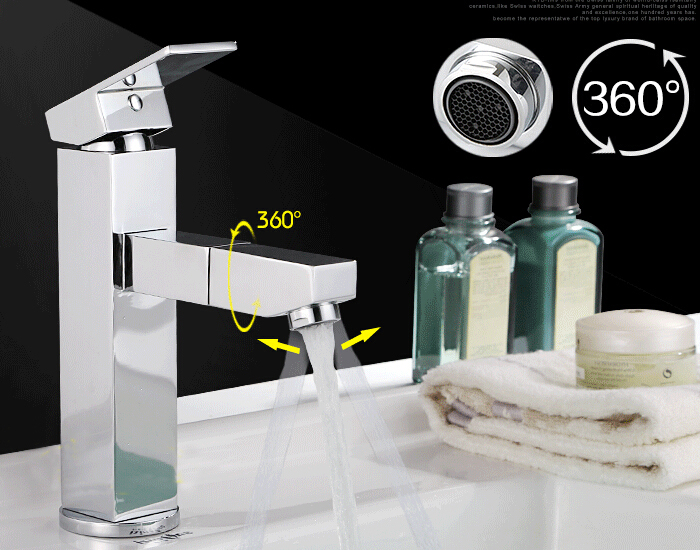 Free Shipping Wholesale And Retail Modern Chrome Finish Pull Out Kitchen Basin Sink Vessel Faucet Mixer