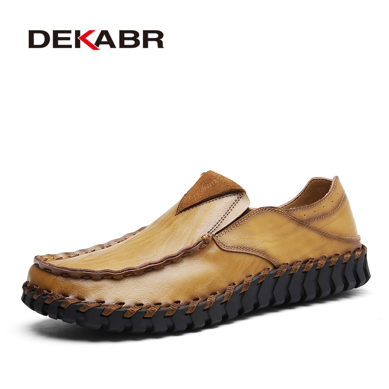 DEKABR Brand Top Quality Comfortable Men's Flats Loafers Men Shoes Solid Daily Leisure Shoes Fashion pu Leather Casual Shoes Men цены онлайн