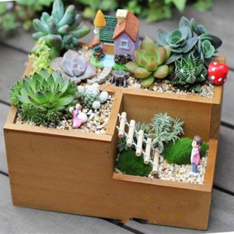 Creative vintage natural wooden garden flowerpot planter succulent plants rectangle desk flower - Rectangular succulent planter ...