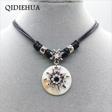 QIDIEHUA  Fashion 12 Color Edelweiss Necklace Match Natural Shell Oktoberfest Handmade Statement 2019 Jewelry Wholesale