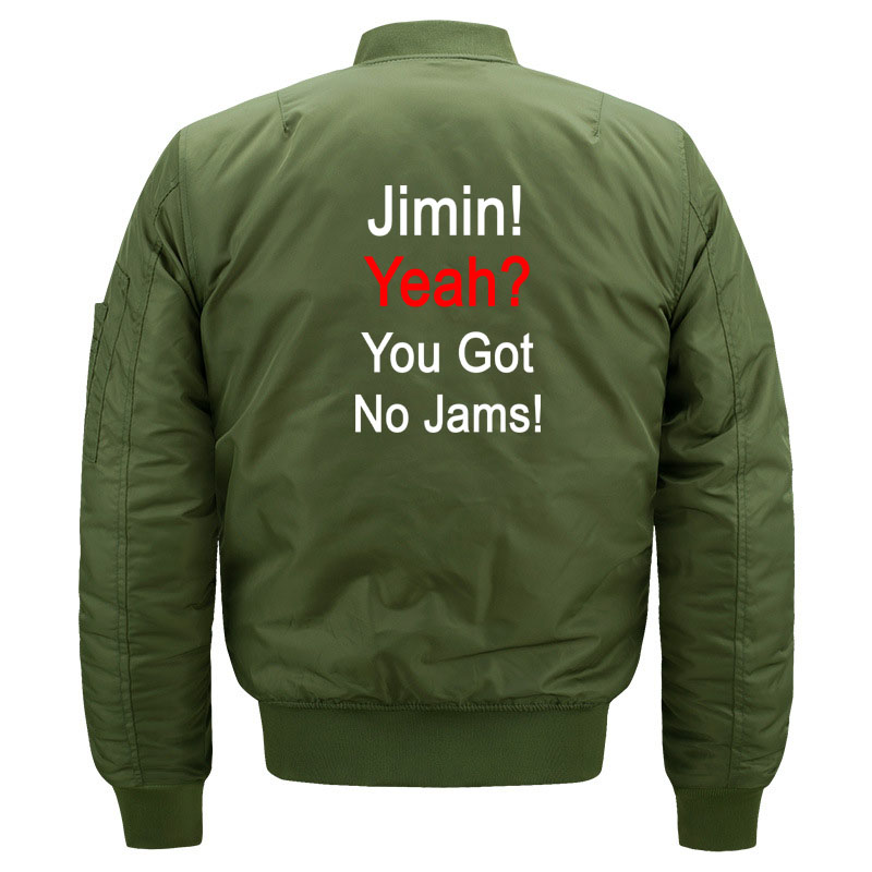 Funny Kpop BTS Jimin You Got No Jams Bomber Jacket for Women and Men Fans Kawaii Girls Bangtan Boys Quilted Jackets Plus Size