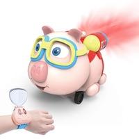 Sprayed Car Pig Small Eight Figure Children Watch Remote Control Car Smart Toy Cartoon Remote Control Infrared Follow Spray