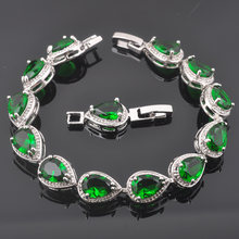 FAHOYO Water Drop Green Stone Cubic Zirconia 925 Silver Wedding Jewelry For Women Jewelry Link Chain Bracelet SL0150(China)