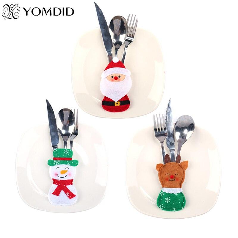 8 Stks Xmas Decor Sneeuwpop Mes & Vork Tas Servies Houder Pocket Diner Bestek Tas Herten Kerstman Tafeldecoraties