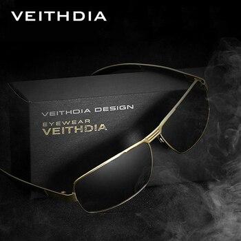 VEITHDIA avec étui d'origine lunettes de soleil polarisées hommes marque Designer Vintage mâle lunettes de soleil gafas oculos de sol masculino 2490