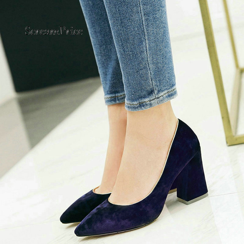 Faux Suede Thick High Heel Slip On Lazy Shoes Fashion Pointed Toe Shallow Dress Party Women Shoes Purple Black Red