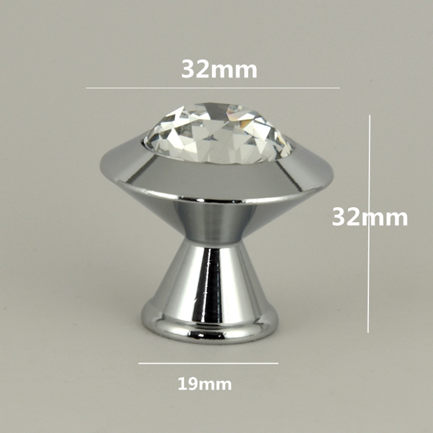 modern simple fashion diamond head glass crystal drawer tv table knobs pulls silver chrome kitchen cabinet cupborad door handles 16x 40mm clear diamond crystal glass door knobs drawer cabinet furniture kitchen