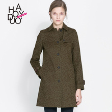 Haoduoyi2015 new autumn and winter in Europe and America leopard print single breasted long coat jacket Slim nan
