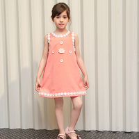Fancy Pink Baby Girl Dress Chiffon Flowers Lace Girls Princess Dresses 2017 Brand Summer Kids Clothes