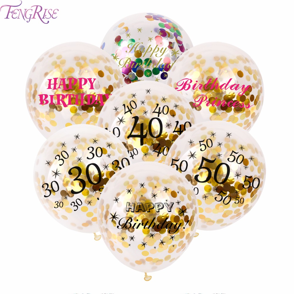 FENGRISE 12inch Happy Birthday Party Confetti Balloon Inflatable Balloon Birthday Decorations 30 40 50 Anniversary Party Favors