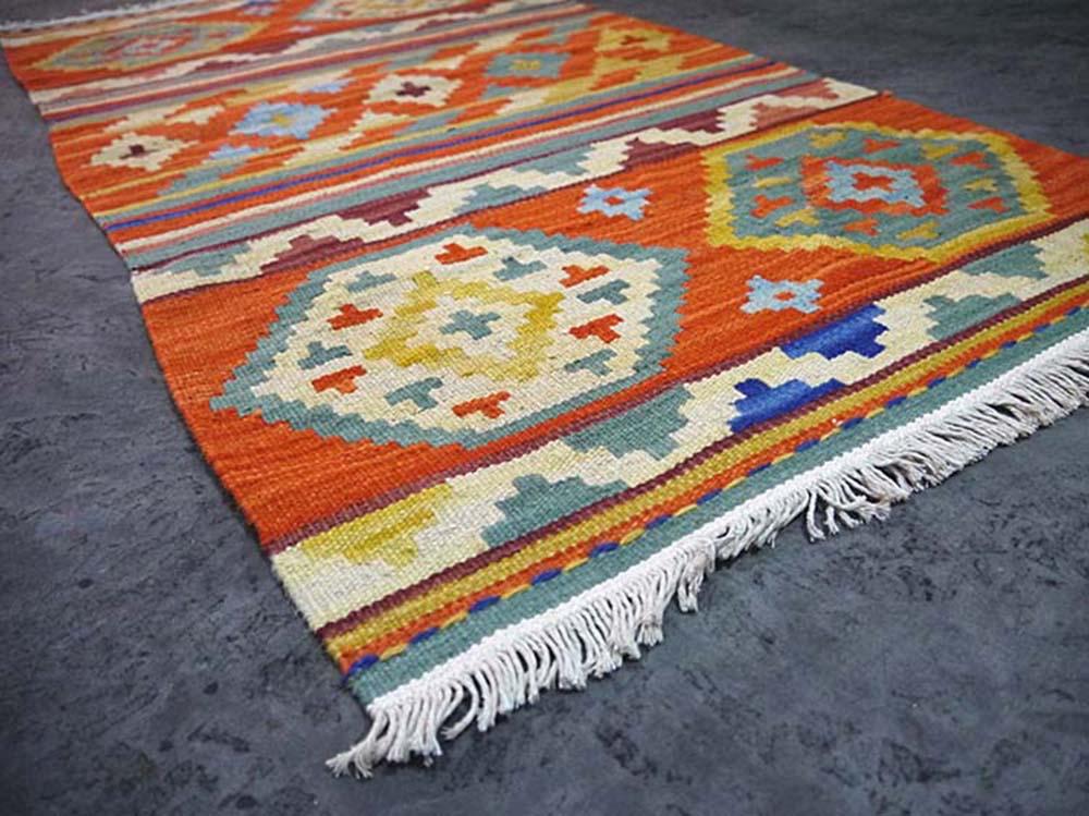 100 Wool Hand Woven Orange Kilim Carpet Anatolia Turkish