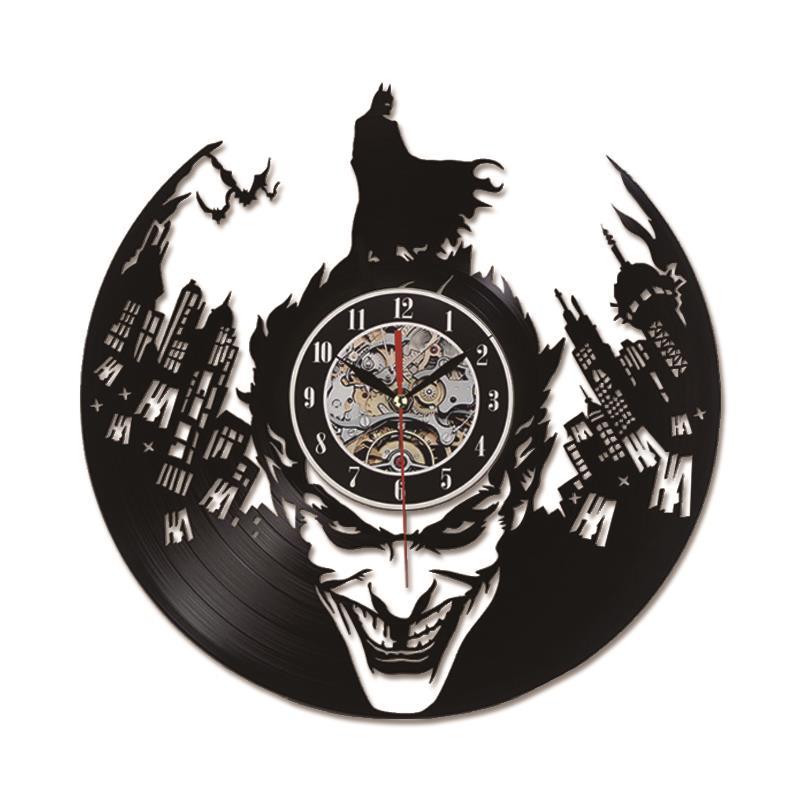 Batman Joker Record Wall Clock 3D Classic LED Lighting Wall Clock
