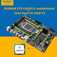 HUANAN v2.49 kit CPU LGA2011 X79 X79 placa base placa base CPU Xeon E5 2660 V2 (10 núcleos/20 subprocesos) WUSON tienda de buena calidad