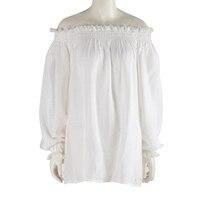 Cheap Clothes China Off Shoulder Women Tops New Fashion White Lace Shirt Long Sleeve Shirts Loose Elastic Ruffle Blouses