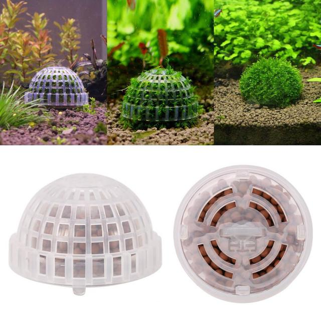 Aquarium Fish Tank Plastic Moss Ball Filter Live Plant Holder Aquatic Exquisite Decorations Ornamen Pet Supplies
