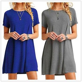 Plus Size - Women Dress Fashion Summer, Short Sleeve Neck -O- Casual Loose Dress Women. Large Size Cotton Dress 1