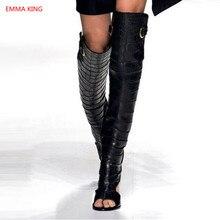 Back Cut-Out Women Summer Boots 2019 Ladies Fashion Block High Heels Roman Sandals